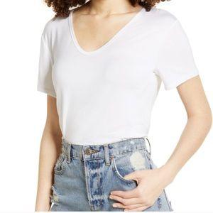 All In Favor White Scoop V Neck Basic Tee Shirt